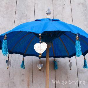 Tafelparasol uit Bali 60 cm blauw