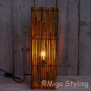 Bamboe lamp vierkant H 62cm