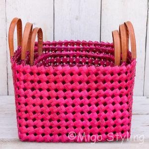 Bamboe mand (L) roze