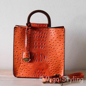 Croco tas Oranje met houten handvaten