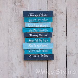Family Rules bord Blauw