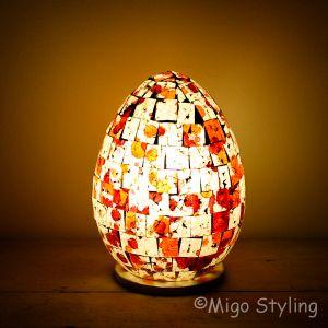 Gekleurde Mozaiek design tafellamp Egg (rood oranje)