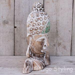Houten Buddha masker staand groen