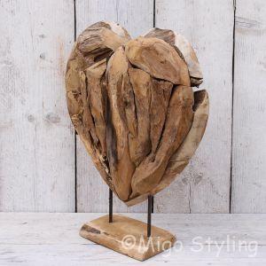Houten hart groot op standaard