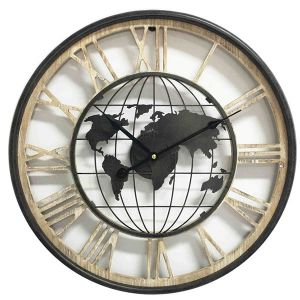 Houten Klok met metaal wereldbol Dia 47