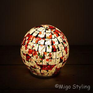 Gekleurde Mozaiek design tafellamp Bol (rood oranje groen)