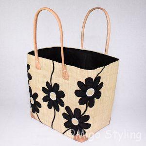 Jute tas Naturel met zwarte bloemen