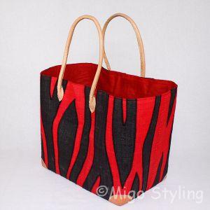 Jute tas Rood met zwarte strepen