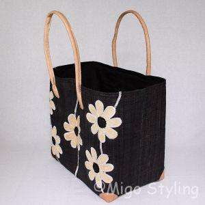 Jute tas Zwart met naturel bloemen