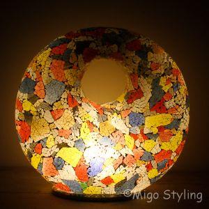 Mozaiek design tafellamp Donut Gekleurd