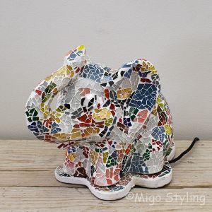 Mozaiek tafellamp olifant gekleurd