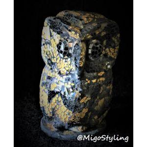 Mozaiek tafellamp Uil (bruin zwart)