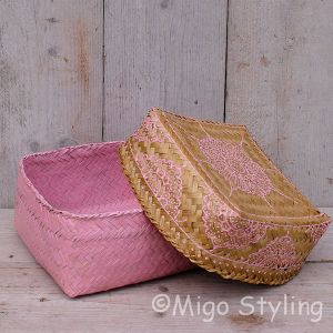 Offermandje bamboe roze M