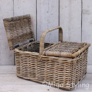 Picknickmand met 2 openslaande kleppen