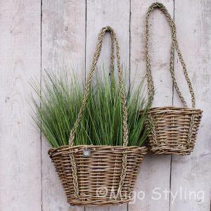Plantenhanger rotan aan touw S