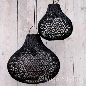 Rieten hanglamp groot zwart