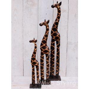 Set houten giraffe van massief hout