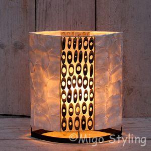 Tafellamp Capiz en Bamboe midden H30cm