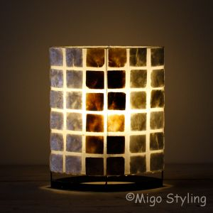 Tafellamp parelmoer en donker capiz 30 cm