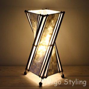 Tafellamp twist capizschelp zwart wit