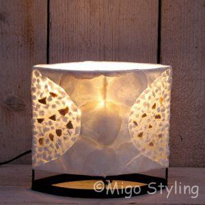 Tafellamp Capizschelp wit brons ovaal 20cm