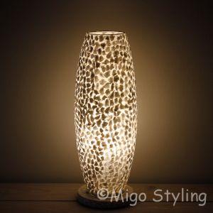 Tafellamp wit gevlokt Cone