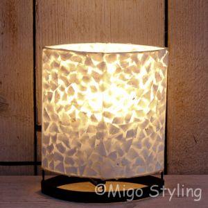 Tafellamp wit gevlokt parelmoer 20 cm