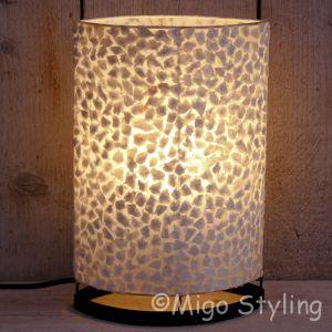 Tafellamp wit gevlokt parelmoer 30 cm