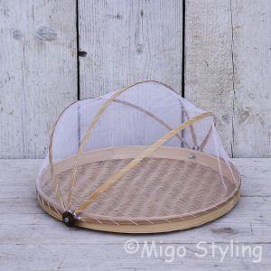 Vliegenmandje Bamboe naturel (l)