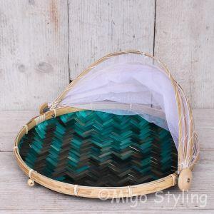 Vliegenmandje Bamboe naturel /  terquoise (m)