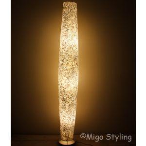 Vloerlamp Cone schelpen wit gevlokt 170 cm