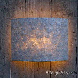 Wandlamp full capiz 43 cm breed