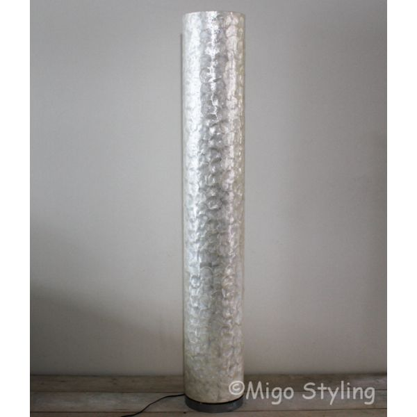 Vloerlamp ronde parelmoer schelpen 160 cm
