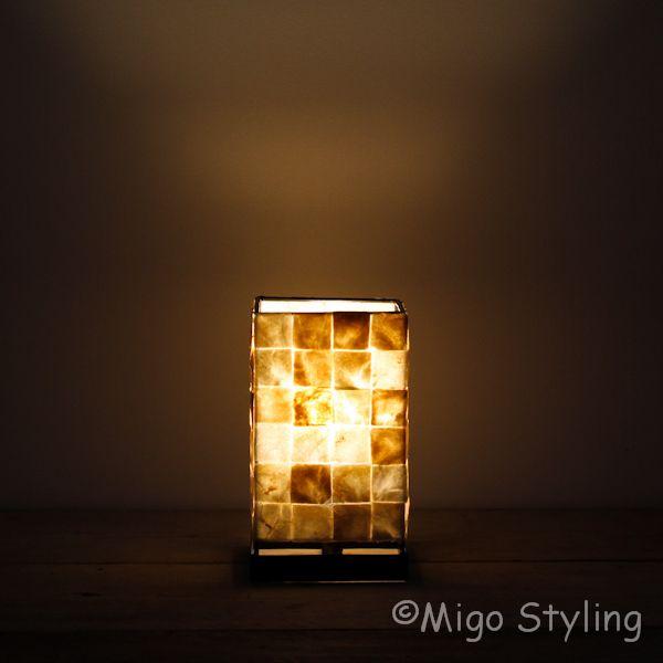 Mozaiek schelpen tafellamp bronskleur