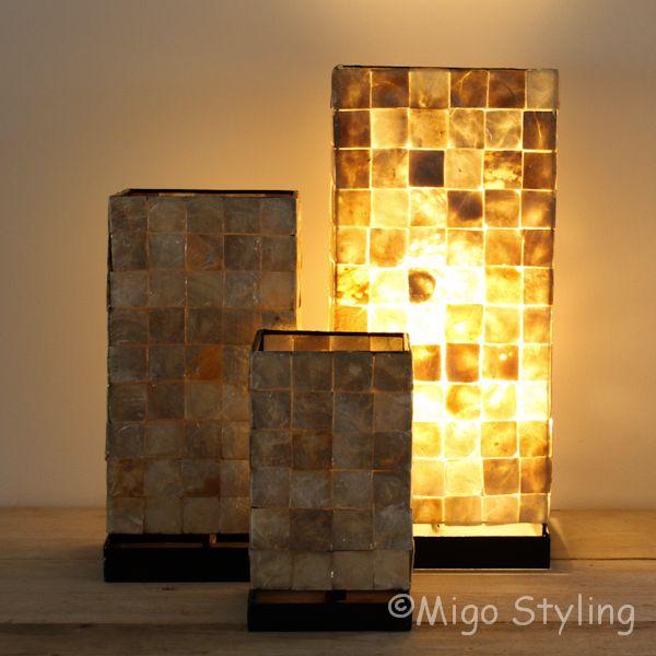 Tafellamp Mozaiek schelpen 40 cm bronskleur