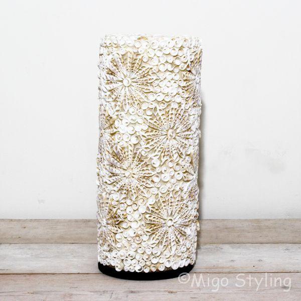 Vloerlamp Troca schelpen design 150 cm zandkleur