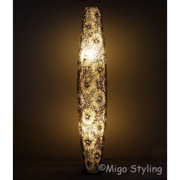 Vloerlamp Troca schelpen design 150 cm bruin