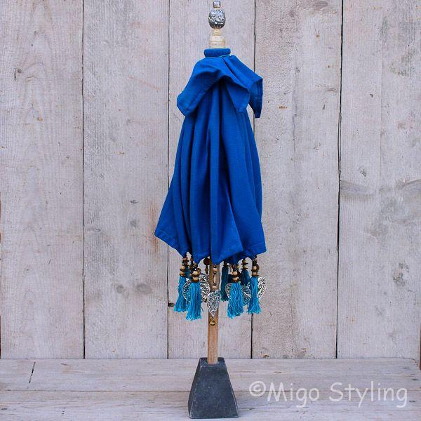 Tafelparasol uit Bali 50 cm blauw
