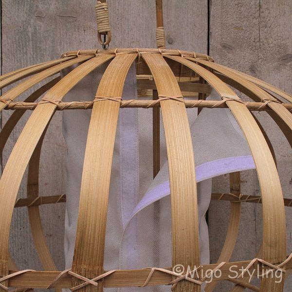 Hanglamp bamboe met stoffen koker