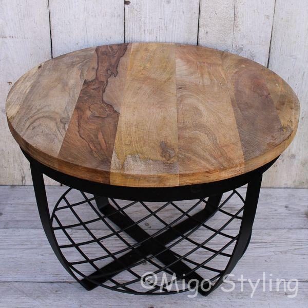 Bijzet-salontafel rond met zwart stalen net