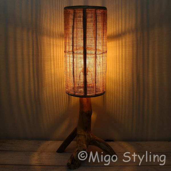 Boomstam vloerlamp met webbing 115cm