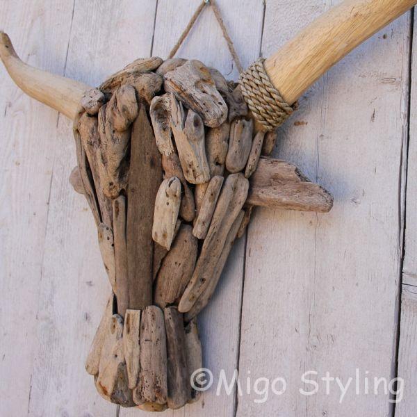 Driftwood kop buffel L drijfhout