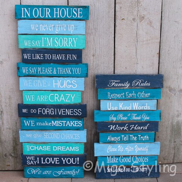 Family Rules bord Blauw groot