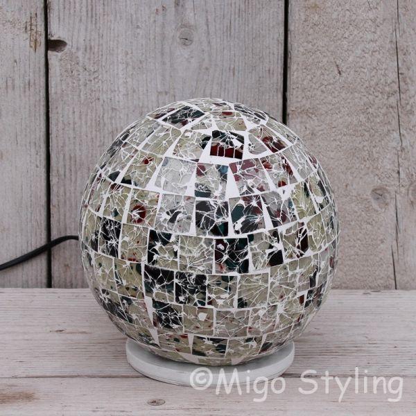Gekleurde Mozaiek design tafellamp rond