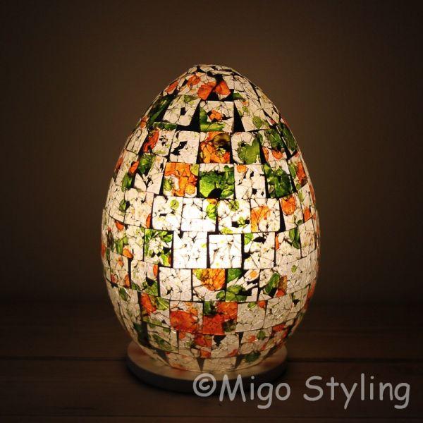 Gekleurde Mozaiek design tafellamp rond (rood oranje groen)