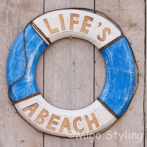 Houten boei Life's a beach Blauw