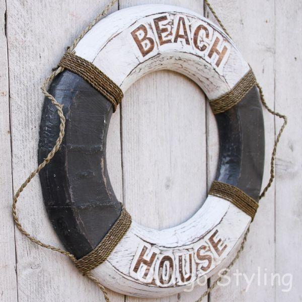 Houten boei Beach House Grijs
