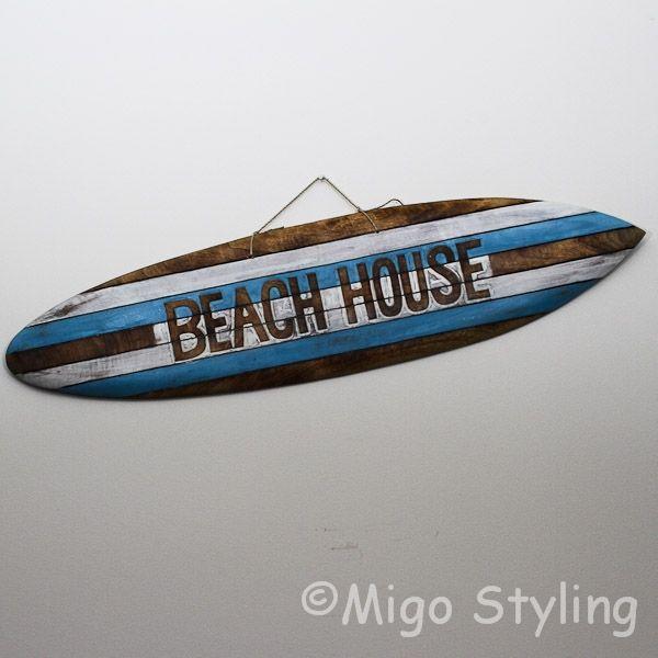 Houten Surfplank Beach House gekleurd