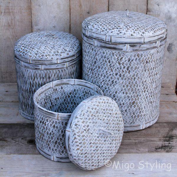 Bamboe sfeermand (M) met deksel grey wash