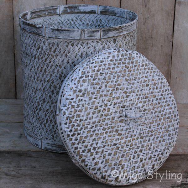 Bamboe sfeermand met deksel grey wash